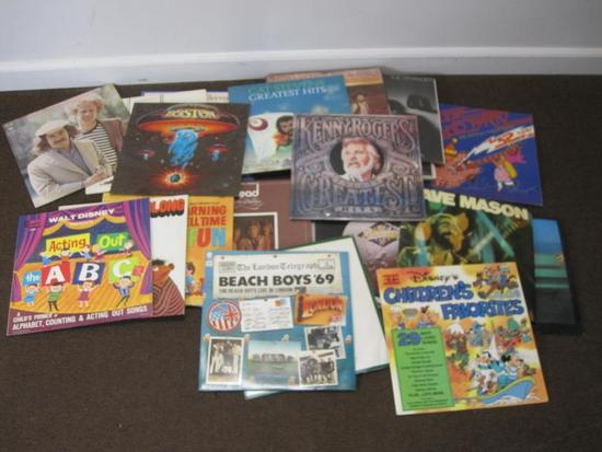 Lot of 25+ vinyl records including Simon and Garfunkel, Boston, Doobies, Beach Boys and more