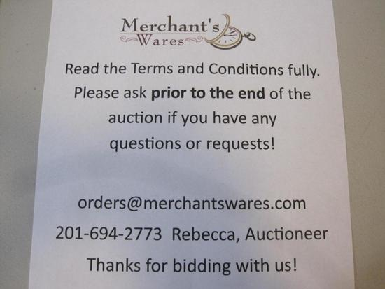 This auction is PICK UP ONLY! Merchant's Wares is located at 1141 Greenwood Lake Turnpike in