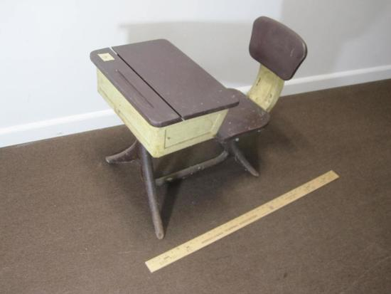 Child's Desk with rotating seat and heavy metal frame and wooden top