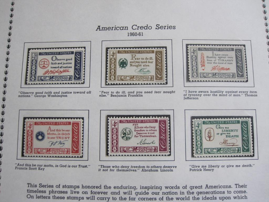 Lot: One completed stamp collecting album page printed by
