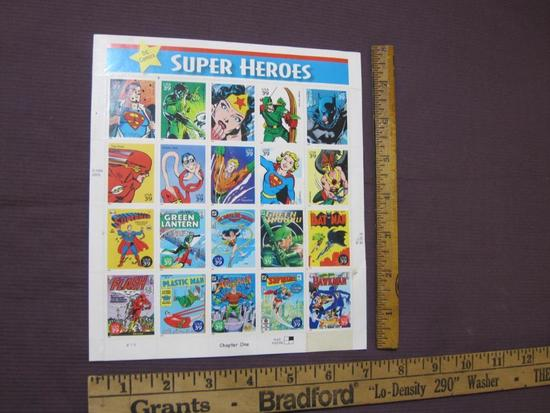 Sheet of 20 2006 39 cent DC Comics Super Heroes US postage stamps, #4084