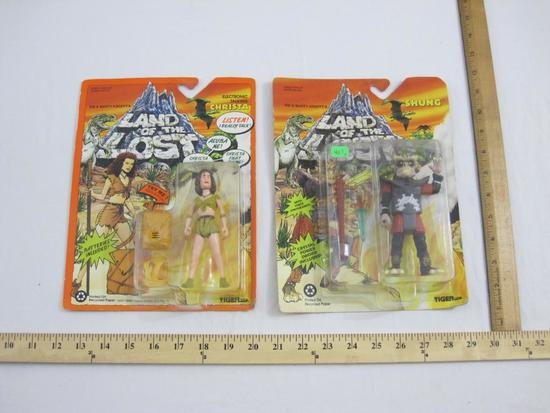 Two Land of the Lost Action Figures including Shung and Electronic Talking Christa, both sealed in