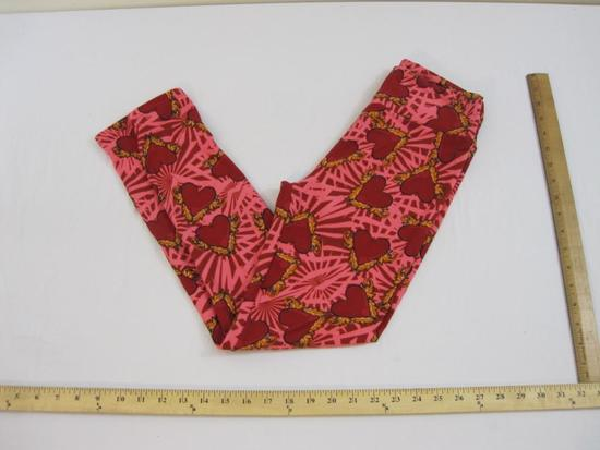 New LuLaRoe One Size Valentine's Leggings, pink with hearts and feathers, 5 oz