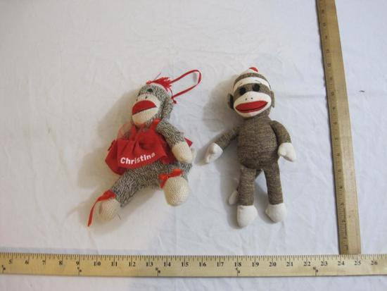 Two Sock Monkeys including TY and Personal Creations personalized Christina, 6 oz