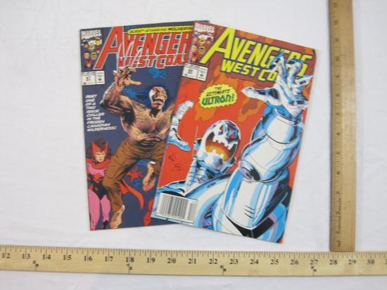 Two Avengers West Coast Comic Books Nos. 87 & 89 (October & December 1992), Marvel Comics, comics