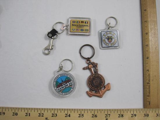 Four Assorted Souvenir Keychains including USMA West Point, US Naval Academy Annapolis, Mount Vernon
