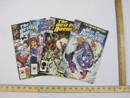 Four West Coast Avengers Comic Books including Vol 1 No. 3 (Nov 1984) and Vol 2 Nos. 1-2 & 11