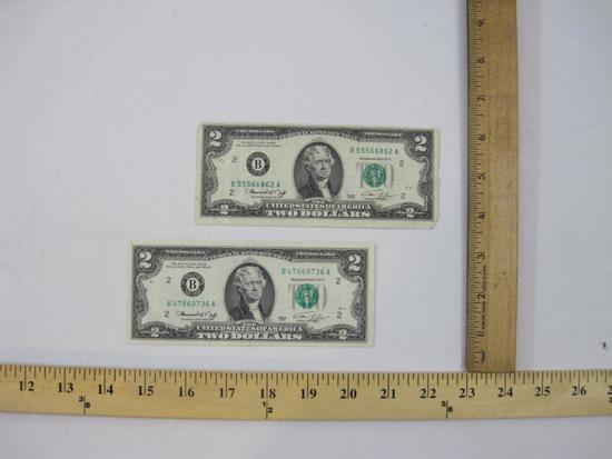 Two Bicentennial Two Dollar Bills, B47869736A and B55566862A