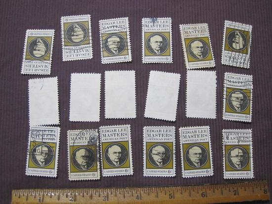 Lot of 1970 6 cent Edgar Lee Masters American Poet US postage stamps, #1405