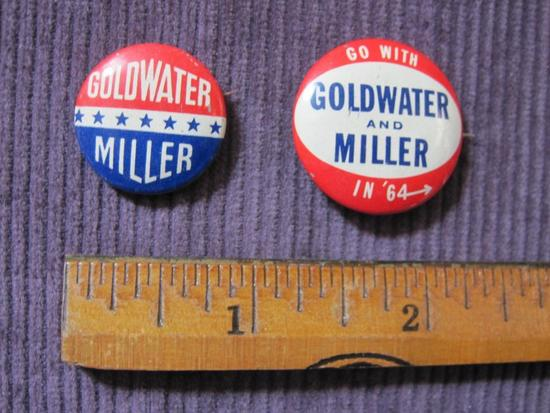 Two Goldwater and Miller 1964 Presidential campaign pins
