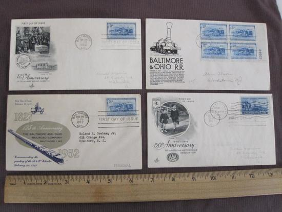 Lot of 4 1952 First Day of Issue covers: 3 commemorate the 125th anniversary of the Baltimore and