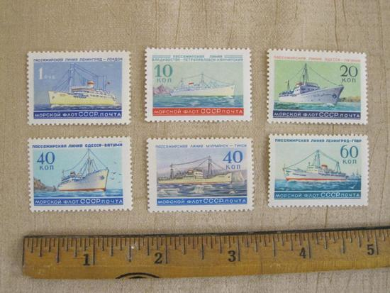 Lot of 6 Soviet Union postage stamps, featuring ships.