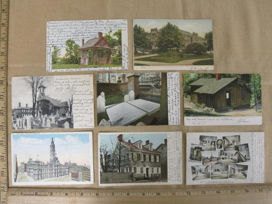 Lot of 8 vintage Philadelphia postcards that include Ben Franklin's grave and the William Penn House