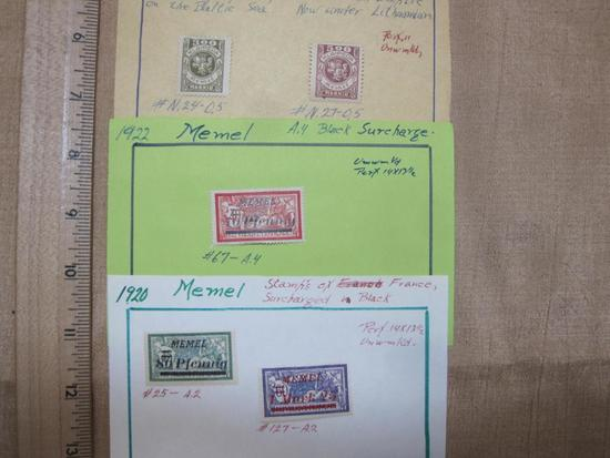 Lot of 5 1920s postage stamps of Memel (a Northern Europe Baltic Sea territory that after World War