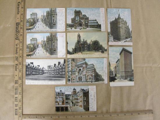 Nine vintage Philadelphia postcards, including City Hall, Academy of Fine Arts and University of