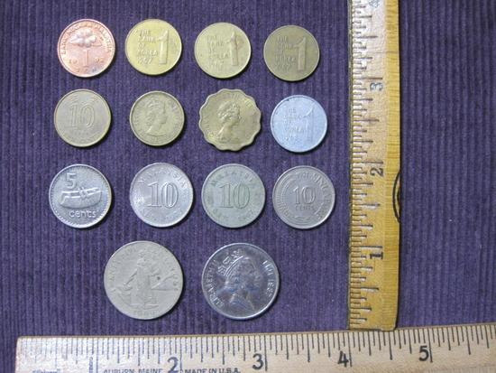 Lot of foreign coins, including Fiji, Korea, Hong Kong, Sinapore, Malaysia and the Philippines