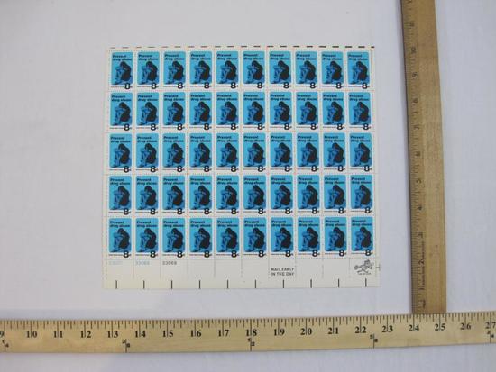 Full Sheet of 50 1971 8-cent Prevent Drug Abuse US Postage Stamps, Scott #1438
