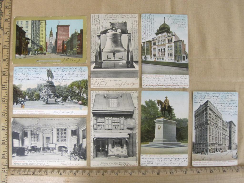 Eight vintage Philadelphia postcards, mostly color, but a few black and white of the Liberty Bell,