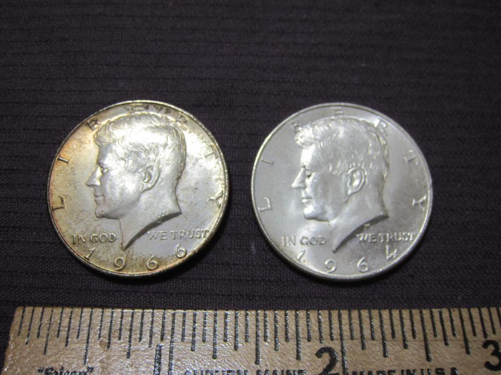 Lot of 2 JFK Half Dollars: 1964 (Silver) and 1966, 12.3 g