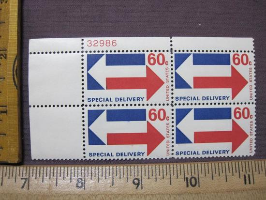 Block of 4 60 cent Special Deliver US postage stamps, #E23