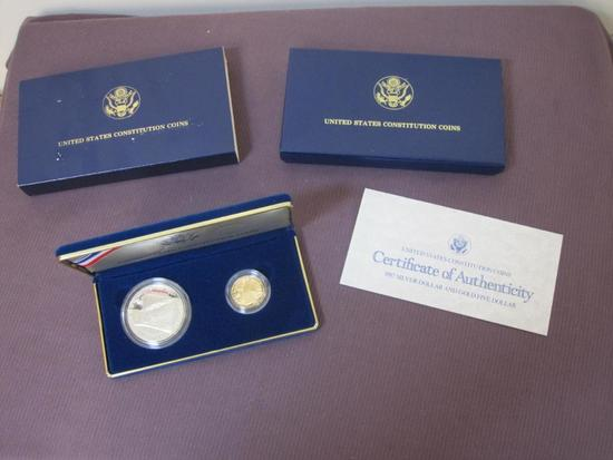 United States Constitution Coin Set includes a 1987 Constitution Proof Silver Dollar (90 percent