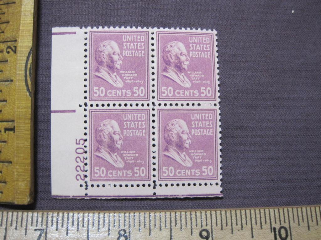 Block of 4 1938 50 cent William Howard Taft US postage stamps, #831