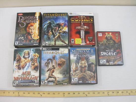 Lot of PC Computer Games including Age of Conan, Medieval II Total War Kingdoms, Titan Quest and