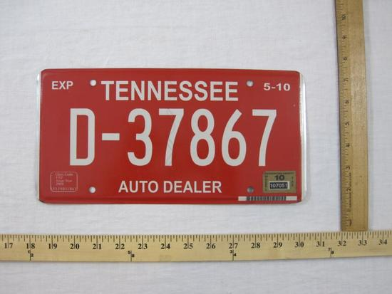 Tennessee Auto Dealer License Plate, 2009 Issue Year, 4 oz