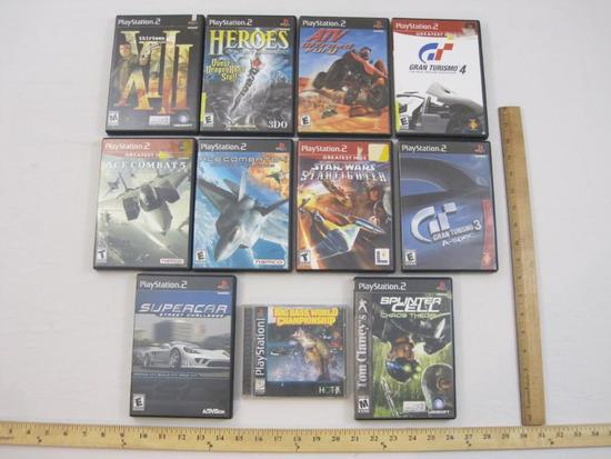 Lot of 11 Video Games including PS2 XIII, Gran Turismo 3 & 4, Ace Combat 4 & 5, Tom Clancey's