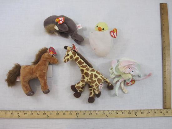 Lot of 5 TY Beanie Babies including Goochy, Jollu, Eggbert, Saddle 2.0 and Jumpshot, all tags