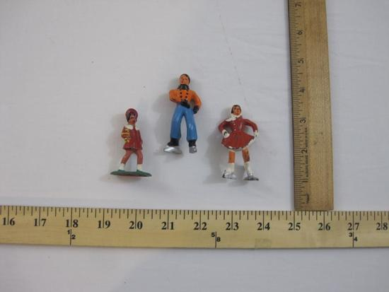 Three Vintage Barclay Lead Figures including ice skaters and girl (B164), 4 oz