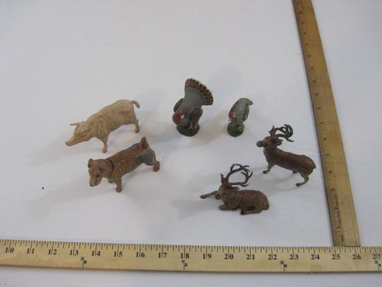 Six Assorted Animal Figures including cast metal deer and dog, many marked Germany, 14 oz