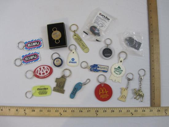 Lot of Assorted Key Chains including AAA, Geo, McDonalds, Camel and more, 10 oz