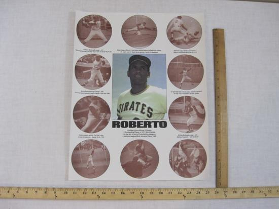 Roberto Clemente Achievement Poster, poster may be rolled and shipped separately in a tube