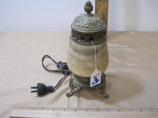 Vintage Brass and Stone Table Lamp