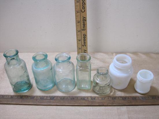 Seven Vintage Blue Green and Milk Glass Bottles