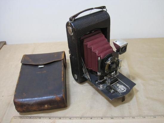 Vintage Kodak Eastman Folding Camera with Reid S Baker Washington DC emblem and Carry Case