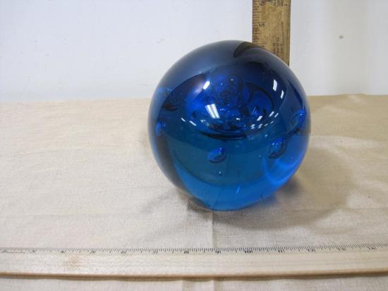 "Large 6"" diameter Blue Glass Sphere"