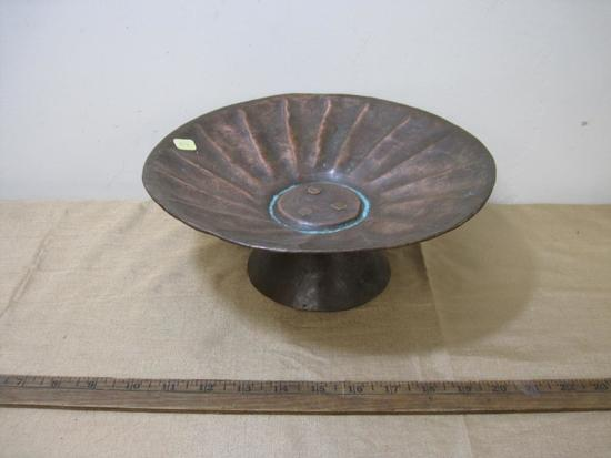 Hammered Copper Birdbath/Raised Tray, approx 11 inches in diameter