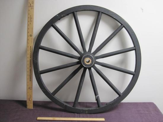 Wooden Wagon Wheel with Hub, approx 31 inches in diameter