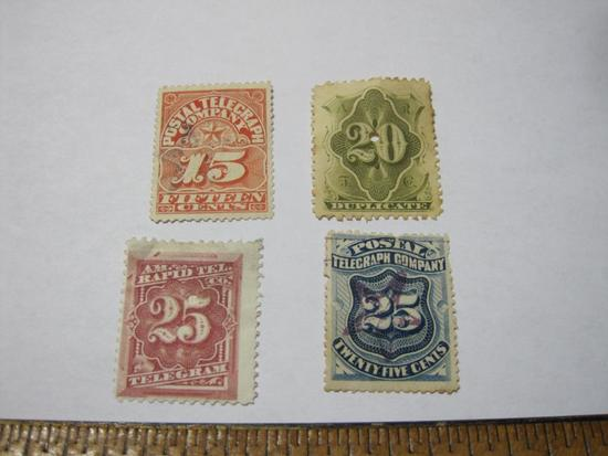 Four telegraph stamps: 2 Postal Telegraph Company, 2 AM Rapid Tel.
