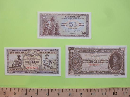 Three Paper Currency Notes from Yugoslavia