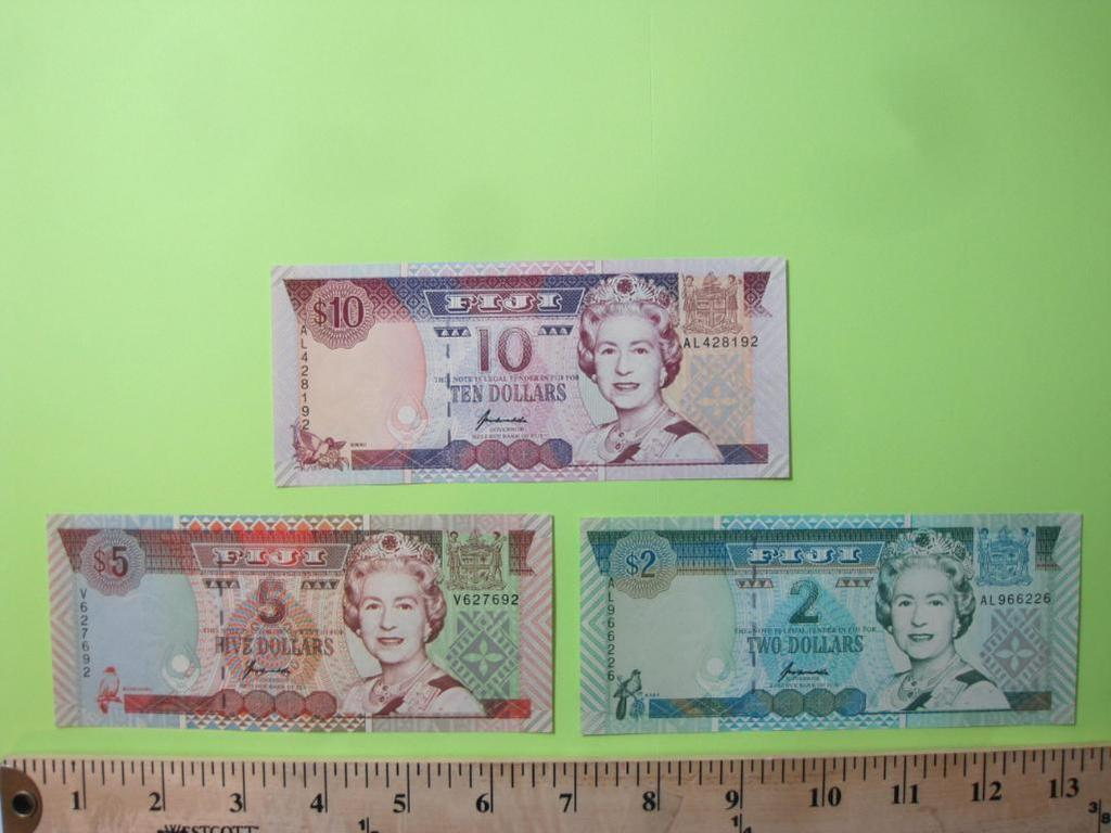 Three Notes of Fiji Paper Currency: two, five, and ten dollars