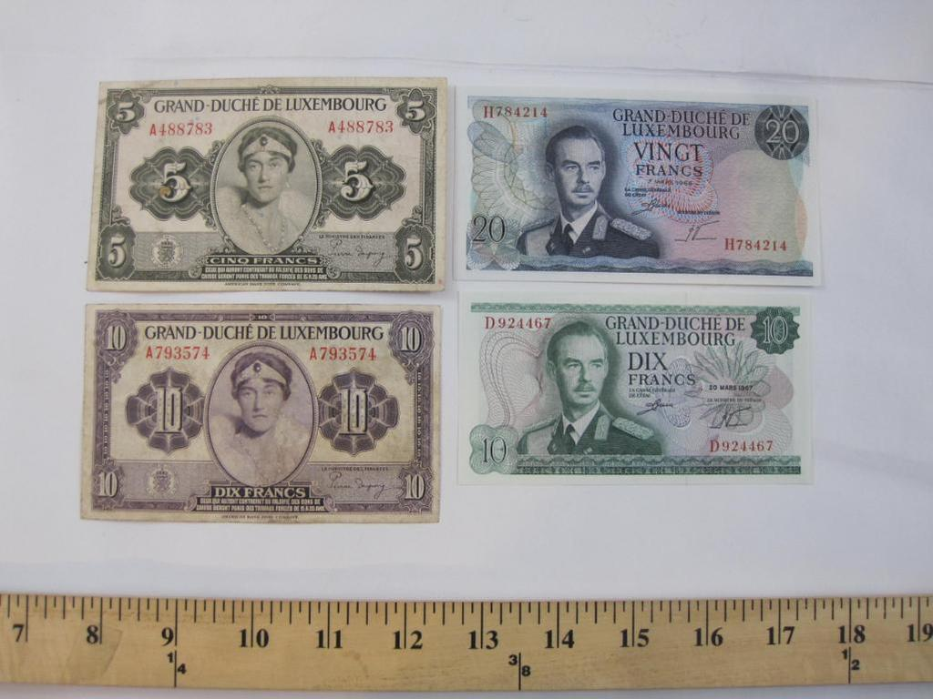 Lot of Foreign Paper Currency from Luxenbourg