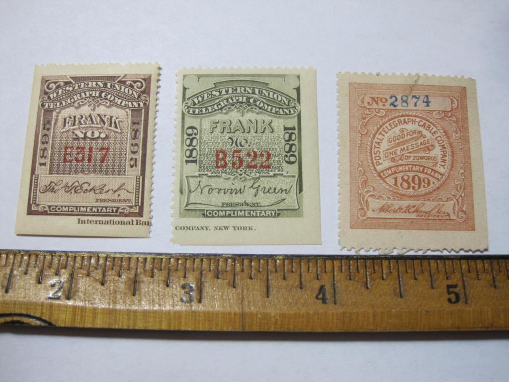 Three telegraph stamps: 1889 Western Union; 1895 Western Union; 1899 Postal Telegraph Company