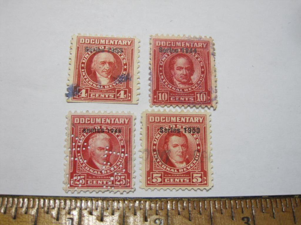 Four US Internal Revenue Documentary Stamps (1943, 44, 50, 53)
