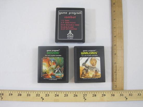 Three Vintage ATARI 2600 Games including 01 Combat, Berzerk and Warlords, games have been tested and