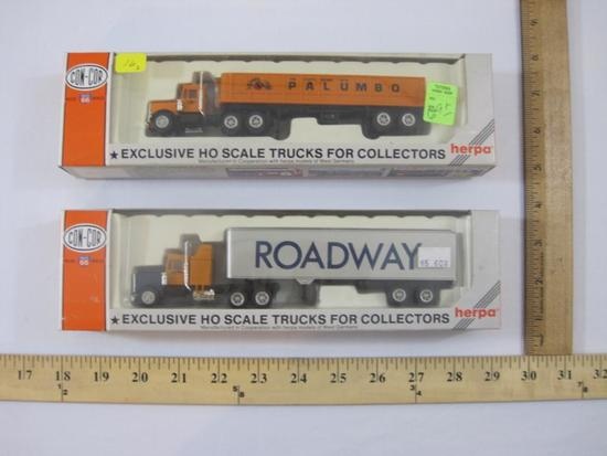 Two Con-Cor Herpa HO Scale Model Trucks, Roadway and Palumbo Precise Route 66 Vehicles, 6oz