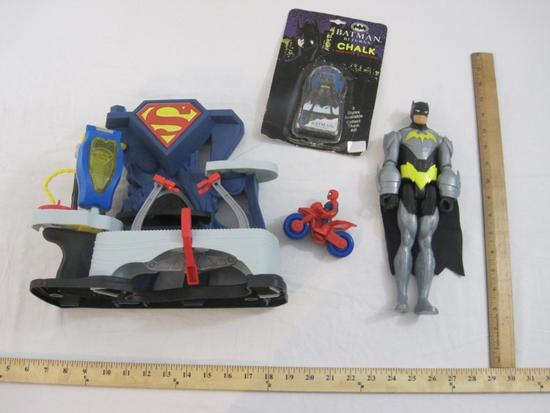 Lot of Assorted Superman, Batman, and Spiderman Toys, 1 lb 10 oz
