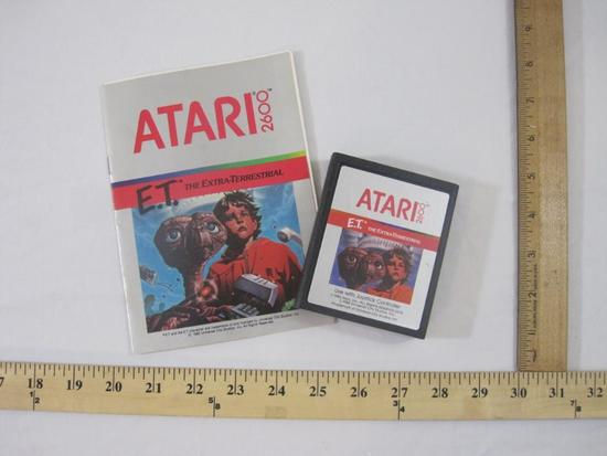 Vintage E.T. The Extra-Terrestrial ATARI 2600 Game Cartridge and Instruction Manual, game has been